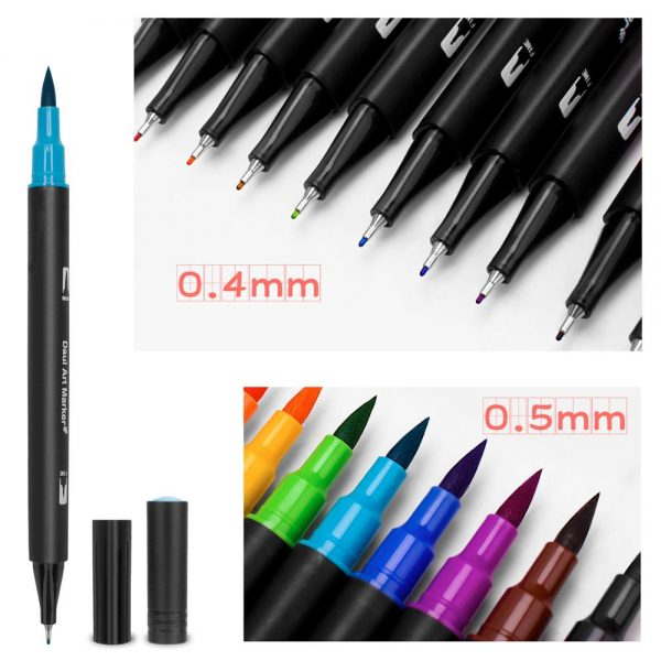 48/60/72/100 Color Watercolor Markers for Drawing Painting Set Professional Water Coloring Brush Pen Set Dual Tip for School