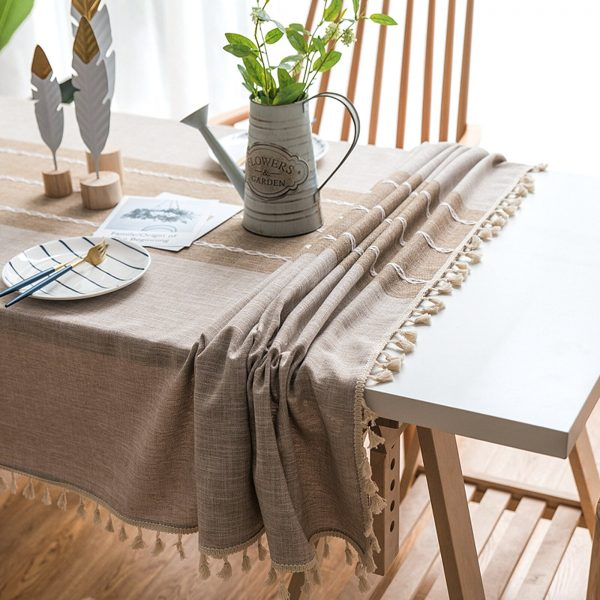 New Japan Style Linen Cotton Tassel Table Cloth Rectangular Lace Edge Tablecloth For Wedding Dustproof Table Covers Home Textile