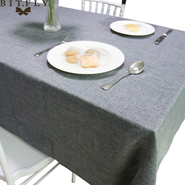 Imitated Linen Tablecloth Gray Khaki kitchen table Decorative Waterproof Oilproof Rectangular Table Cover Tea Table Cloth
