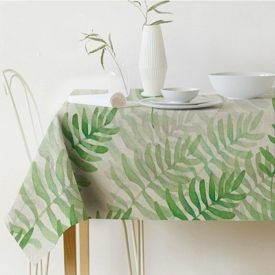Palm Leaf Rectangular Tablecloth Print Waterproof Tablecloth Linen Polyester Kitchen Dining Table Cover Nordic Decor Tablecloth