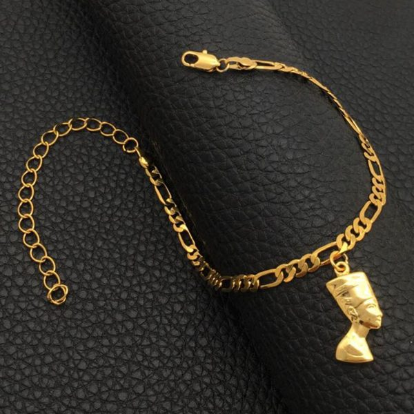 Anniyo Egyptian Queen Nefertiti Anklet for Women Gilrs Foot Chain Jewelry Gold Color Wholesale Jewellery African Gift #215106