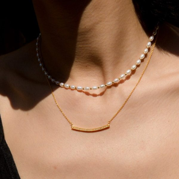 Bohemian trend crushed stone necklace irregular natural stone neck accessories gift for friends natural pearl pendant jewellery