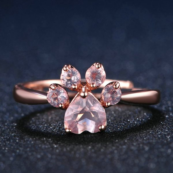 LAMOON Sterling Silver 925 Jewelry Rings For Women Pink Paw Rose Quartz Ring Rose Gold / White Gold Platd Gemstones Jewellery
