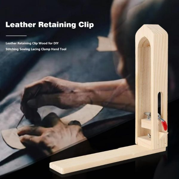 Leather Retaining Clip Wood for DIY Stitching Sewing Lacing Clamp Hand Tool Set Table Desktop Lacing Pony Horse Clamp Tools