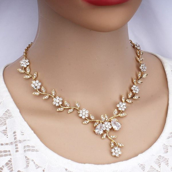 jiayijiaduo Classic Bridal Jewellery Sets for Women's Dresses Accessories Cubic Necklace Earrings Set Gold Color Wedding Dresses
