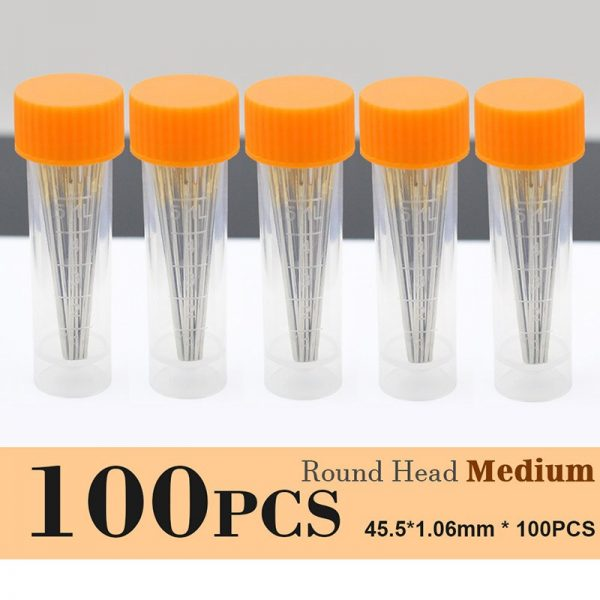 Leather Crafts Sewing Needle,Round Head Blunt Pint,Pointed Prism Sharp Tool for Embroidery Stitching Gold Tail Big Eye Needles