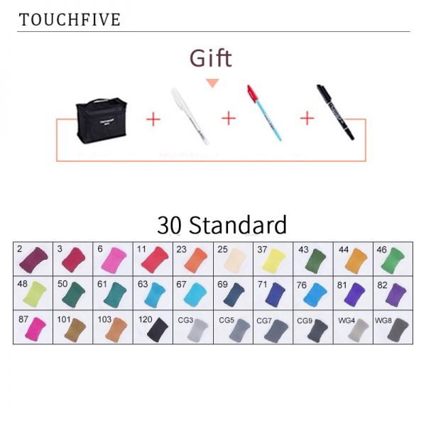 TouchFIVE 30/40/60/80 Color Markers Manga Drawing Markers Pen Alcohol Based Sketch Felt-Tip Oily Twin Brush Pen Art Supplies