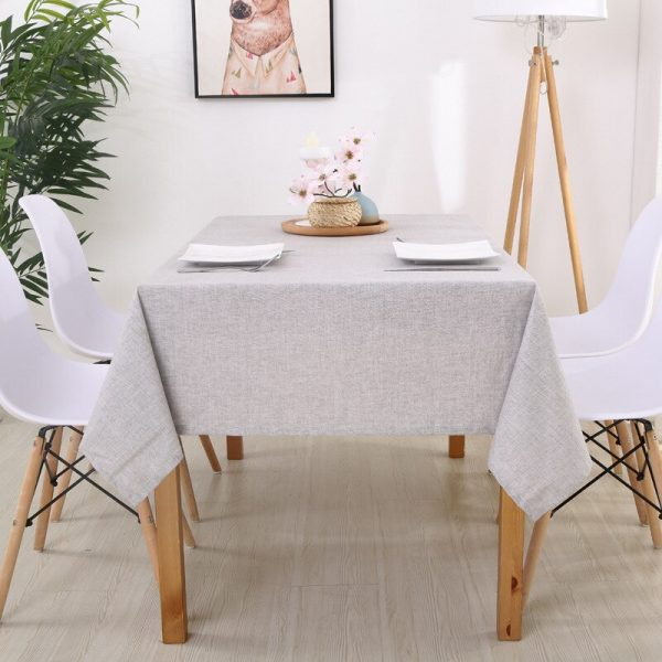 Linen Tablecloth kitchen table Multi Color Solid Decorative Waterproof Oilproof Thick Rectangular Table Cover Tea Table Cloth