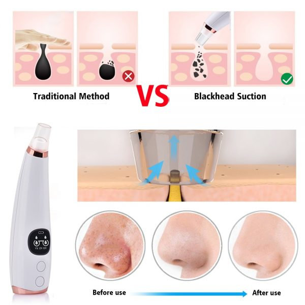 Facial Cleaner Nose Blackhead Remover Deep Pore Acne Pimple Removal Vacuum Suction Diamond T Zone Beauty Tool Face Household SPA