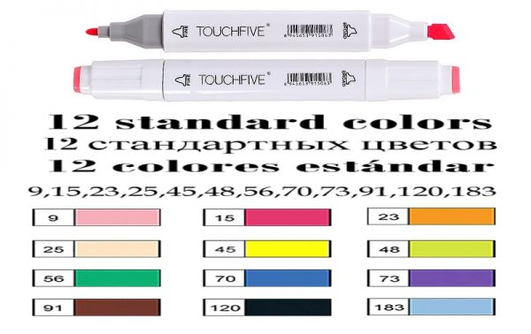 TouchFIVE Markers Hand Painted Manga Drawing Markers Pen Alcohol Based Sketch Oily Twin Brush Pen Bookmark Art Supplies