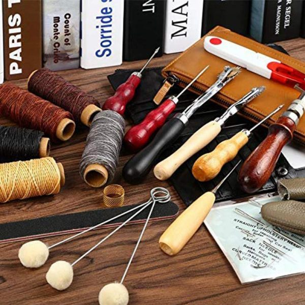 Dreamburgh 31 Pcs Leather Sewing Tools DIY Leather Craft Tools Hand Stitching Tool Set With Groover Awl Waxed Thread Thimble Kit